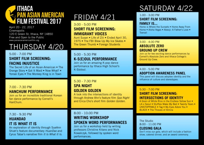 Ithaca Pan Asian American Film Festival April 20 22 2017 VOICES